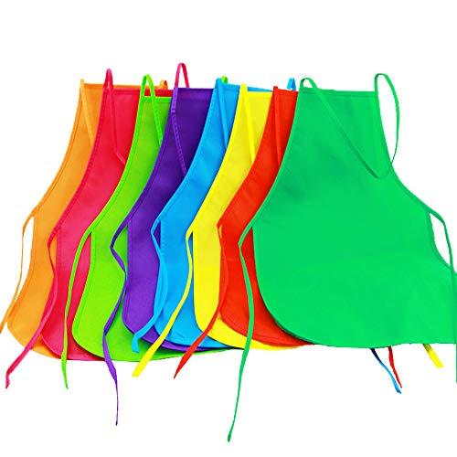 Onepine 8 Stück 8 Farben Kinder Schürzen Stoff Malerei Schürzen Kinder Kunst Kittel für Küche, Klassenzimmer, Malerei Aktivität (8 Pieces)