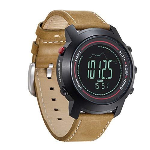 Smartwatches SPOVAN Herren Climb Mountain Mulitifunctions Sport-Armbanduhr mit Echtleder-Band-Kompass/Pacer/Wasserdicht/LED-Hintergrundbeleuchtung,C -