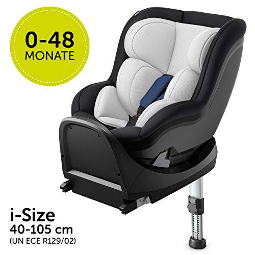 Hauck Reboard Kindersitz iPro Kids mit Isofix Basis, i-Size Autositz (0-18 kg, ab Geburt bis 4 Jahre), rückwärts gerichtet, drehbar, mitwachsend - Denim