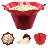 Silicone Popcorn Maker / Popcorn Popper Maker / Popcorn Makers Online / Popcorn And Snack Maker / Silicone Microwave Popcorn Maker- Silicone Microwave Popcorn Popper Container Bowl Bucket Maker-Foldable &Collapsible By Hk Villa