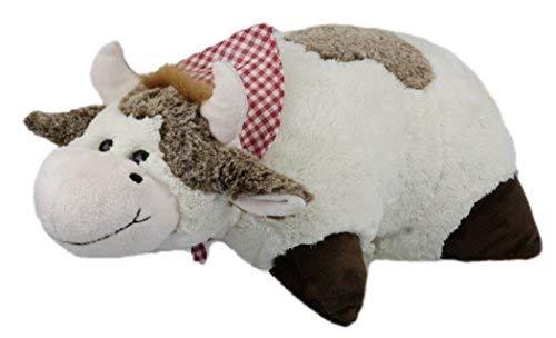 Inware 7198 2 en 1 Coussin Doudou et Doudou Vache - Blanc/Marron, 35 x 25 cm, coussin avec fermeture Velcro