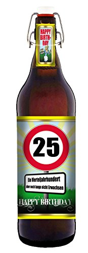 25 Jahre - 1 Liter Flasche mit edlem Pils (eine Geschenkverpackung)