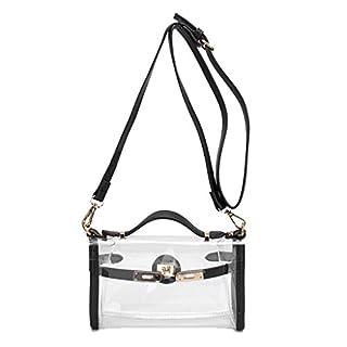 KaiDeng Transparent Stilvolle Geldbörse Klar Handtasche, Tote Fashion Schulter Umhängetasche Schwarz