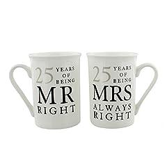 Idea Regalo - 25 Regalo Di Anniversario Set di 2 Tazze Di Porcellana 'Mr Destro & Mrs Always Right'