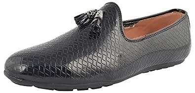 LeeGraim Men's Black Leather Loafers - 10 UK