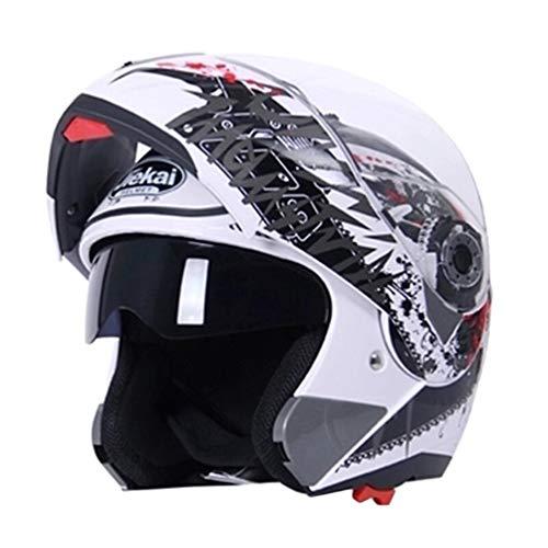 Qianliuk Casco Moto antiappannamento Full Face Doppio Obiettivo Moto Casco Unisex Protezione per Adulti Cappuccio per Quattro Stagioni 61-62cm