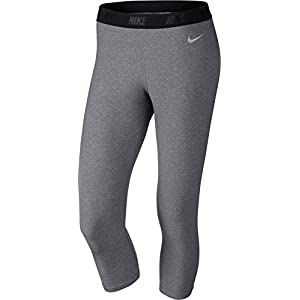 Nike Ladies Solid Capri Tights CARBON HEATHER/METALLIC SILVER Women's 744822-091 (X-Small)