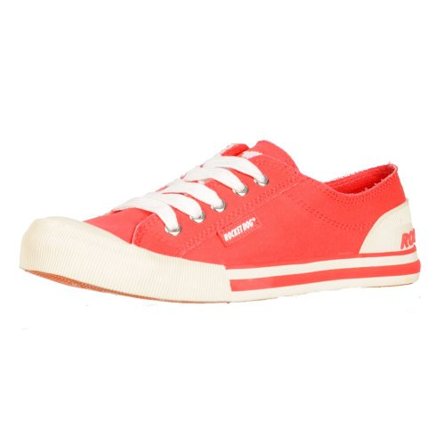 Jazzin Tela Piatto Pizzo Rocket Dog Donna Sneakers Scarpe Ponte Uk4 Us6 Au5 - Eu37... Coral