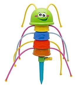 Idena-Diversión, Oruga de Agua, Aprox. 41 cm, para niños a Partir de 3 años, Incluye estaca, Simplemente conectar a la Manguera de jardín, Color carbón Berlin 40160