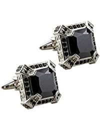 Knighthood Exclusive Black Stone With Swarovski And Laser Cut Detailing Cufflinks For Men