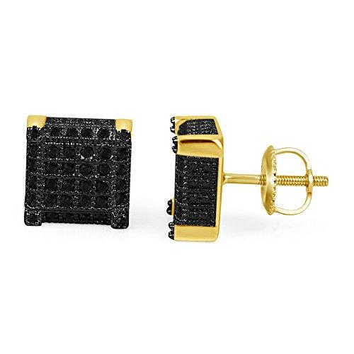 lilu Jewels Exclusif véritable Argent Sterling 925Diamant Noir Carré Cube Big Block Vis Arrière Boucles d'oreilles 14k Gold plated