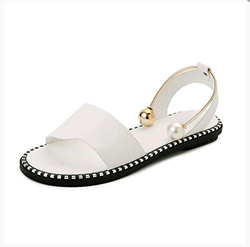 XY&GKSandales femmes à fond plat d'été mot Toe, boucle de Pearl 37 white