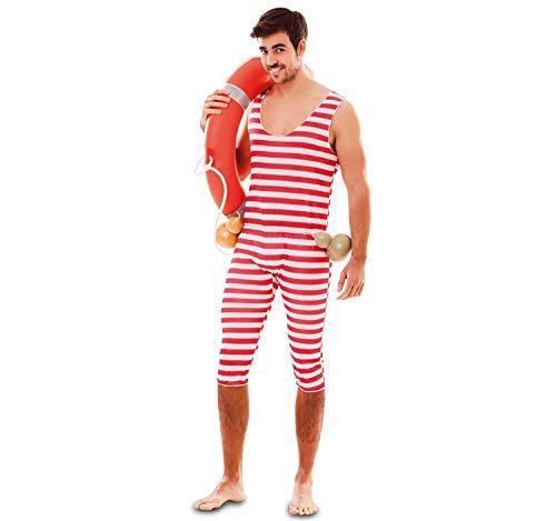 EUROCARNAVALES Erwachsen Kostüm Retro Badeanzug rot-weiß gestreift, wahlweise mit Haube, Beachparty Karneval - Rote Und Weiße Kostüm