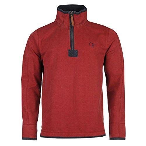 ocean-pacific-uomo-1-4-pique-maglione-pullover-manica-lunga-collo-alto-zip-top-rosso-extra-lge