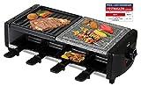 SAVOIE RG83N 2in1 Raclette-Grill/Steingrill für 8 Personen, Partygrill mit Natursteinplatte, zum Grillen und...