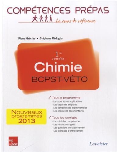 Chimie 1re année BCPST VETO : Nouveaux programmes 2013