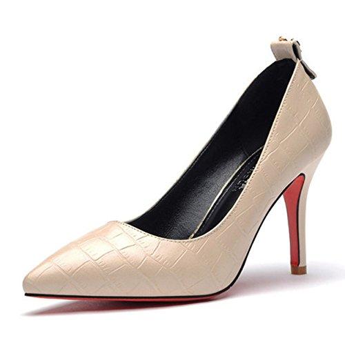 Moderne Damen Stiletto Schmale Ferse High Heel Klassische Elegante Stil Oberflächenmaterial mit Streifenmuster Pumps Beige