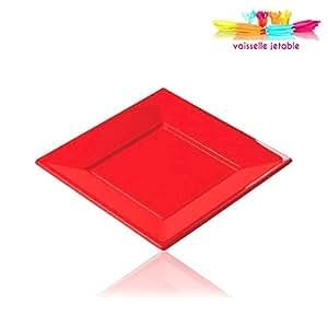 12 assiettes jetables plastique carré 23cm rouge