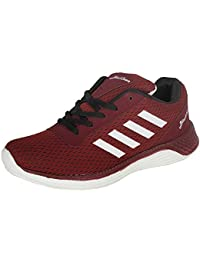 Men's Sports Running Gym Sneakers Outdoor Wear Casual Shoes,Color: Maroon, by BLACKTOWN