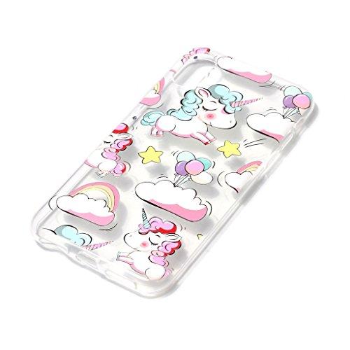 Fodlon® Vent de Hibou Transparent Soft Case pour Apple iphone X Clouds unicorn