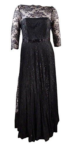 Tahari ASL Womens Ashley Metallic Lace Evening Dress