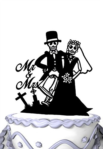 Meijiafei Wedding Cake Topper - Skeleton Mr & Mrs for Halloween Party Decoration - Soiree Collection