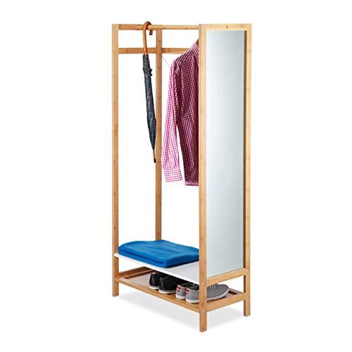Relaxdays Standgarderobe mit Spiegel, Kleiderstange, Ablagen, natürlich schöne Optik, Bambus, HBT: 170x79,5x40cm, Natur
