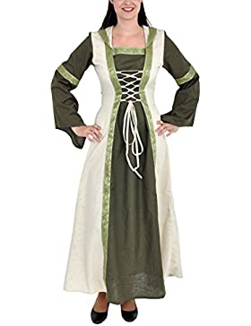 Costume medievale da donna – Abito medievale Saphiria con cappuccio – verde oliva – bianco – L/XL