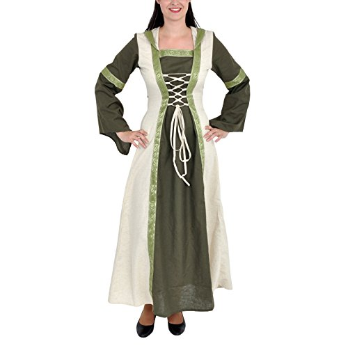 Mittelalter Damen Kleid: Saphiria mit Kapuze, schnürbar - (Empire Larp Kostüm)