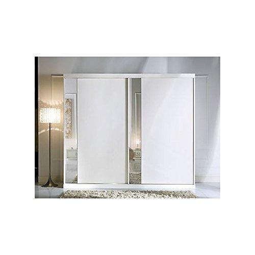 EsteaMobili Armoire 2 Portes coulissantes avec Miroir Blanc comme Photos Bois Massif – comme Photos Blanc et Ivoire
