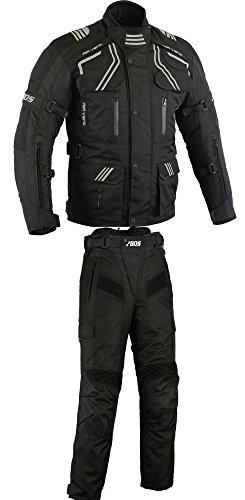 Motorradkombi Cordura Textilien Motorradjacke und Motorradhose Schwarz, (L)