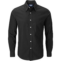 Charles Wilson Camisa Manga Larga Popelina Lisa para Hombre (XX-Large, Plain Black)