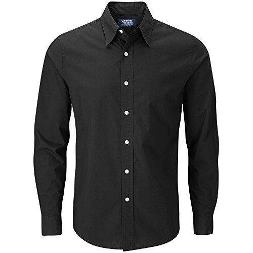 Charles Wilson Long Sleeve Plain Poplin Shirt (Large, Black)
