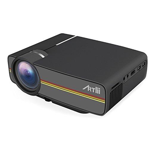 Videoproiettore Portatile, Artlii proiettori 1200 lumen LED LCD Mini HD 1080p proiettore home theater Home Theater USB / SD / AV / HDMI per la TV / film / giochi / proiettore Campeggio arte nero Interface