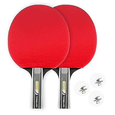 Cornilleau-Lot de 2 Raquettes Balles 3 Rouge