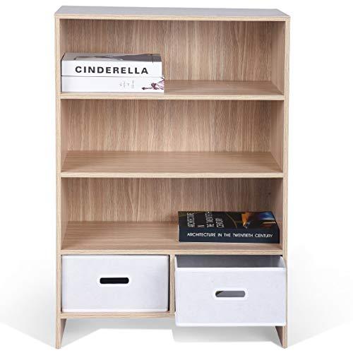 ASUUNY Kleines Bücherregal, 4 Tiers Bücherregal im Regal mit 2 Ebenen 2 Cube-Einheit mit Schubladen für Aufbewahrungsmöbel im Heimbüro, 60 X 30 X 92 cm, Eiche -