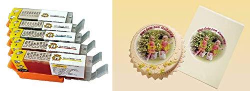 Lebensmitteltinte Patronen Set (PGI-550 / CLI-551) 25 Blatt A4 Fondantpapier & Lebensmittelpatronen für Canon IP7250,MG5450,MG5550,MG5650,MG6450,MG6650,IX6850(A3),MX725,MX925, / Lieferung 2 bis 5 Werktage