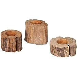 Parrilla 3-er diamante Garden Set teca-portavelas - madera pequeño decoración