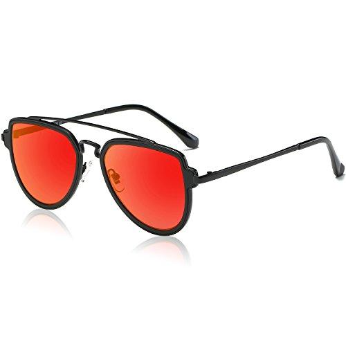 SOJOS Retro Doppelte Metallbrücken Polarized Linse Sonnenbrille für Herren Damen SJ1051 mit Schwarz Rahmen/Rot Verspiegelt Linse