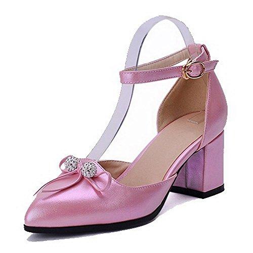 VogueZone009 Damen Weiches Material Spitz Zehe Mittler Absatz Schnalle Pumps Schuhe Pink