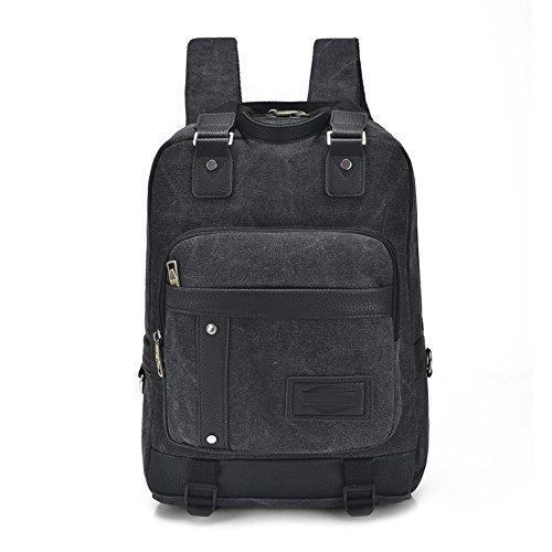 SZH&BEIB Beiläufige Segeltuch-Rucksack Unisex Fashion Outdoor Travel Gear Schule oder Arbeit Laptop-Tasche Black