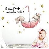 Little Deco Wandtattoo Bis zum Mond & Hasen im Regenschirm I S - 67 x 40 cm (BxH) I Kinderzimmer Babyzimmer Aufkleber Sticker Wandaufkleber Wandsticker DL131