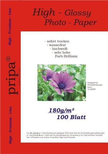 pripa 100 Blatt Fotopapier DIN A4 , 180g/qm , high -glossy (hoch-glaenzend) -sofort trocken -wasserfest-hochweiß-sehr hohe Farbbrillianz, fuer InkJet Drucker (Tintenstrahldrucker).