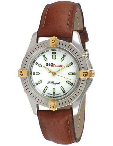Peugeot Unisex Glow in the Dark Light up Watch with Classic Brown Leather Strap Ideal for Camping or Outdoor Activity