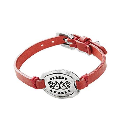 Imagen de unode50 pulsera solidaria unisex con piel en rojo simply rett