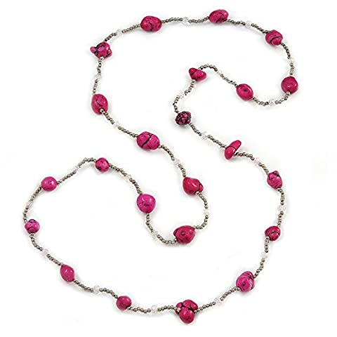 Long Deep Pink Stone and Silver Tone Acrylic Bead Necklace
