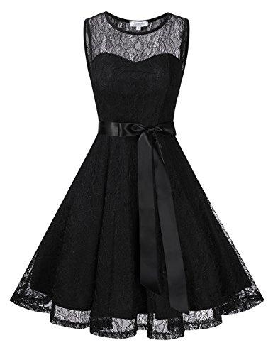 KoJooin Damen Elegant Kleider Spitzenkleid Brautjungfern Kleid Festliches Kleid Cocktailkleid Abendkleid Knielang Schwarz Spitzenschicht S