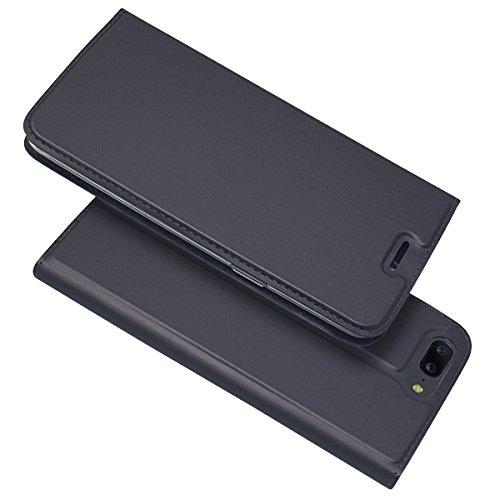 Coque OnePlus 5, OnePlus 5 Housse Étui en Cuir à Rabat Luxe Protection Intégrale Case avec Portefeuille et Carte Slots Support Fermeture Magnétique Telephone Case, OnePlus 5 Housse (Gris foncé)