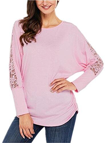 AILIENT Donna Maglietta Elegante Manica Lunga Con Pizzo Camicetta Girocollo Bluse Puro Colore Moda T-Shirt Top Semplice Casual Pink