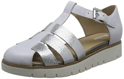 Geox Damen D Darline D Geschlossene Sandalen mit Keilabsatz, Silber (White/SILVERC0007), 41 EU